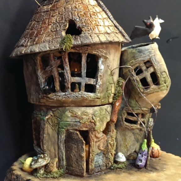 "CMiles  - Haunted House - earthenware, mixed media- 20""x18""x12"" (sold)"