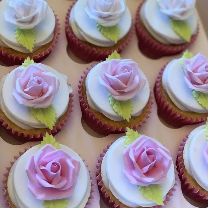 Pastel Pink Rose Cupcakes Birthday