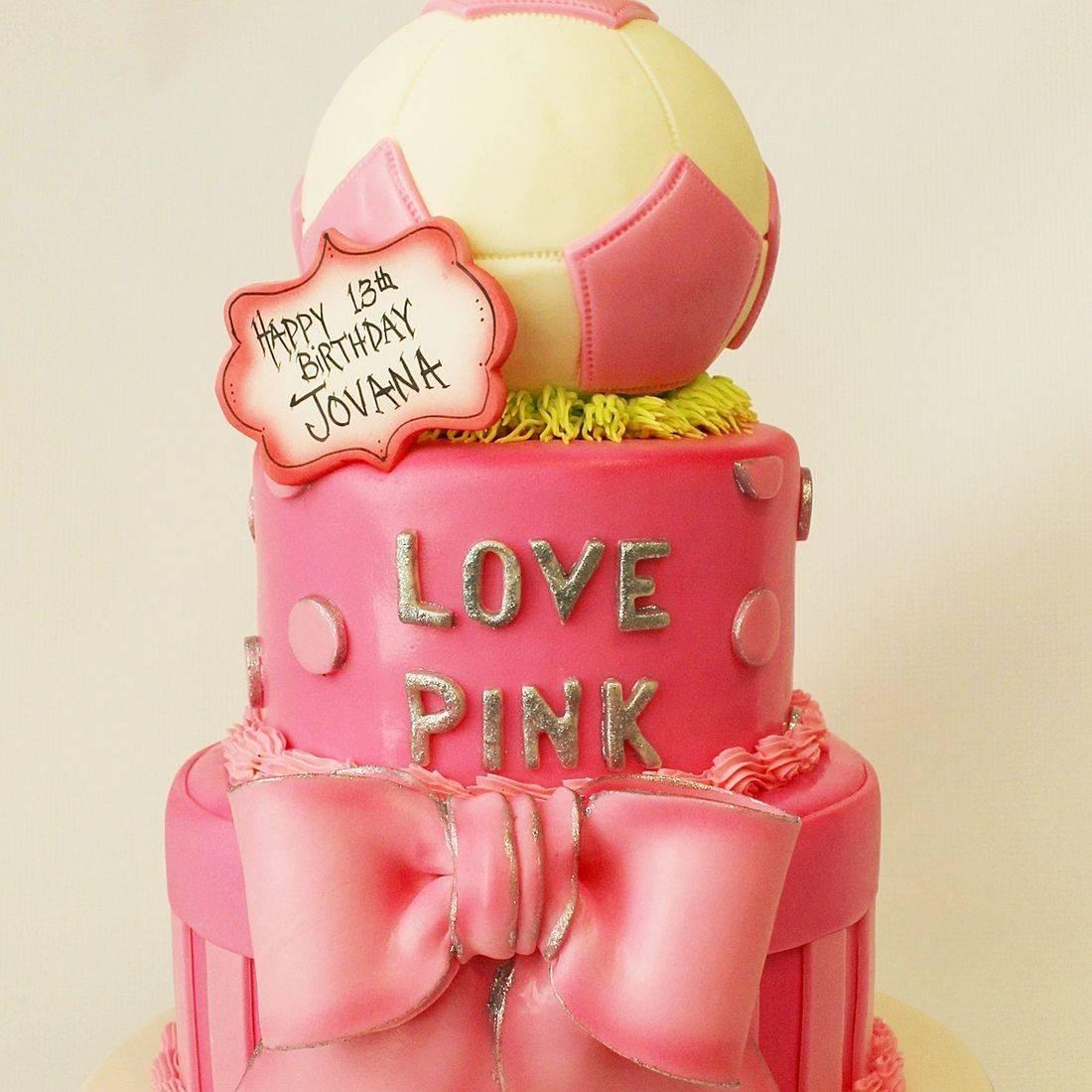 Custom  Soccer Love Pink Cake  Milwaukee