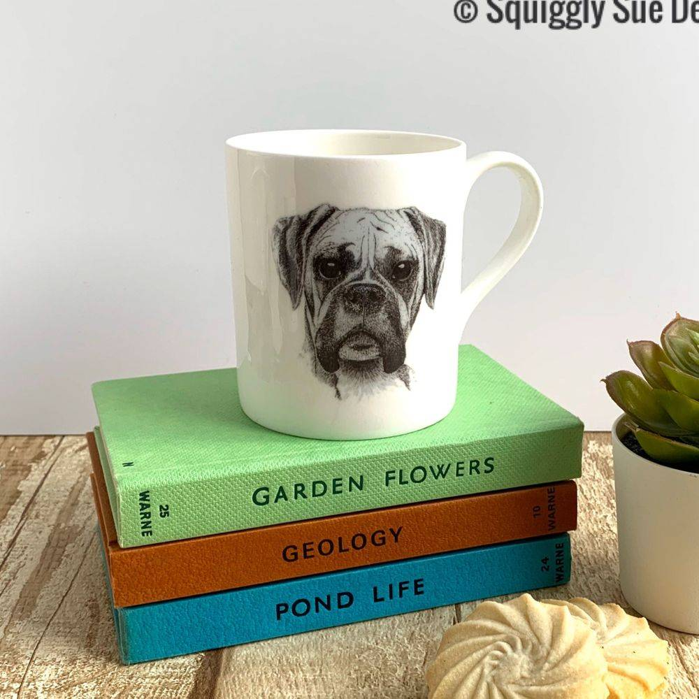 Boxer dog bone china mug cup pen & ink sketch