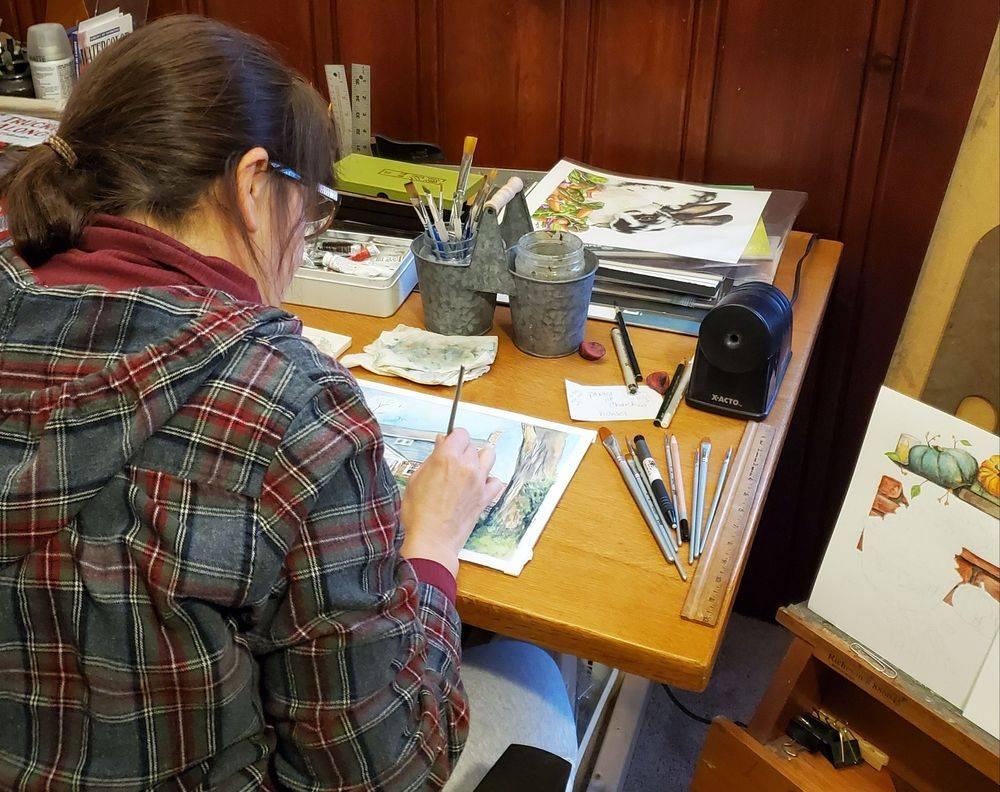 house portrait, watercolor portrait art, sandy bock, portrait artist, portrait illustration