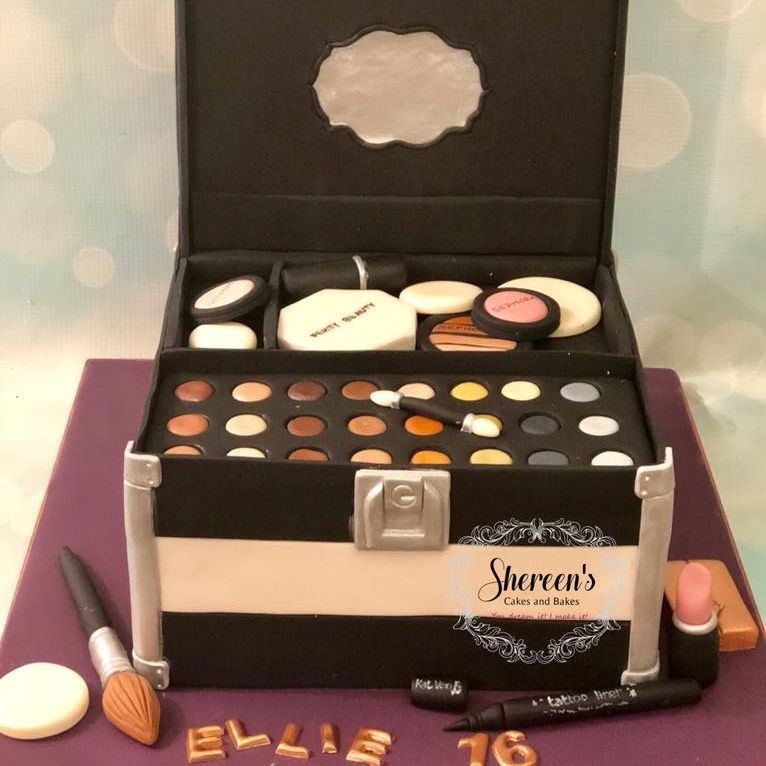 Make up cosmetic box cake birthday sweet 16 eye shadow liner lipstick brush sponge sephora