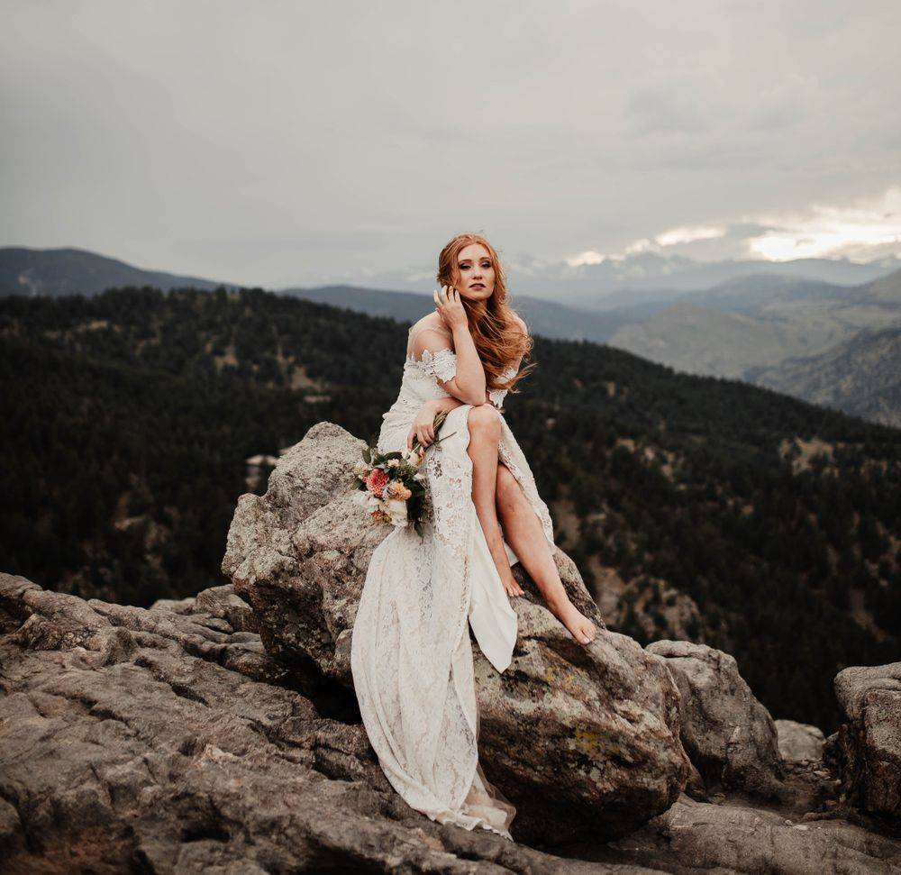 Rocky Mountain bride Colorado elopement wedding photographer