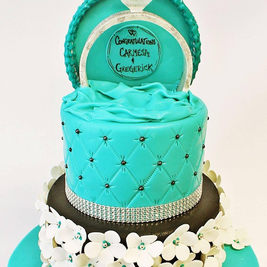 Custom Ring Box Floral wedding Cake  Milwaukee