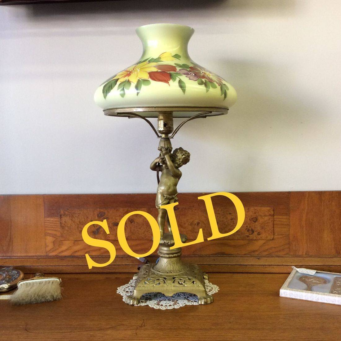 C. 1890's Electrified Edward Miller, Portable Gas Lamp w/Floral Glass Shade   $235.00