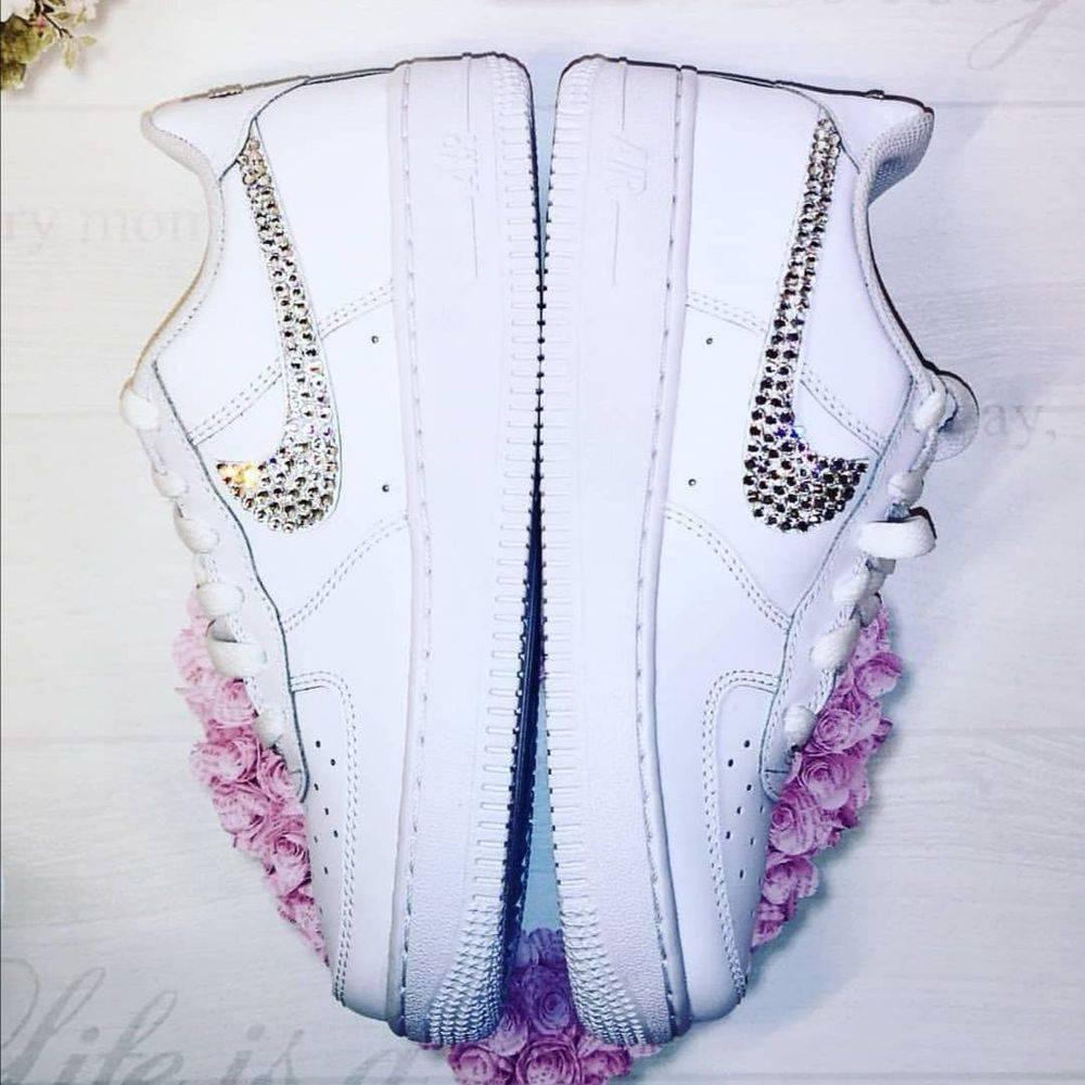 wedding trainers bridal personalised custom bespoke nike crystal tick nicky rox