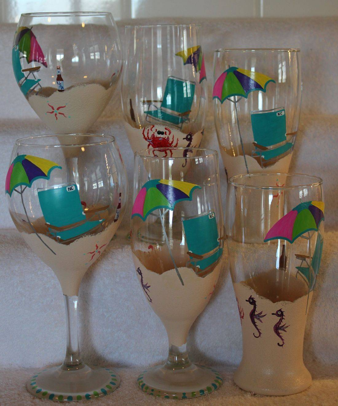Hand Painted Wine Glass, Hand painted Beer Glass, Beach Chair Wine Glass