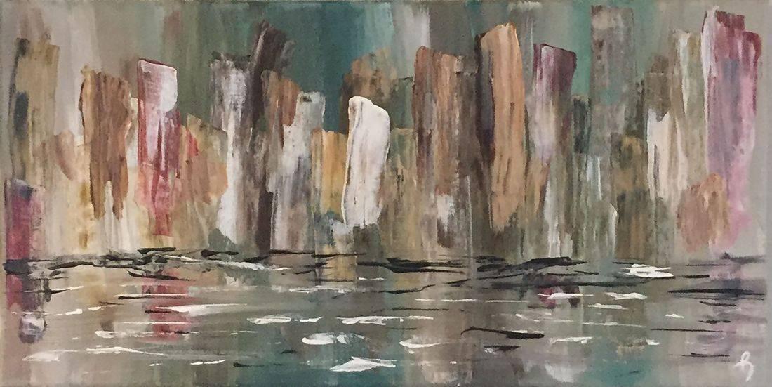 seascape landscape buildings original abstract acrylic canvas painting