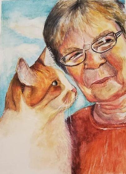 family portrait art, keepsake art, pet portrait
