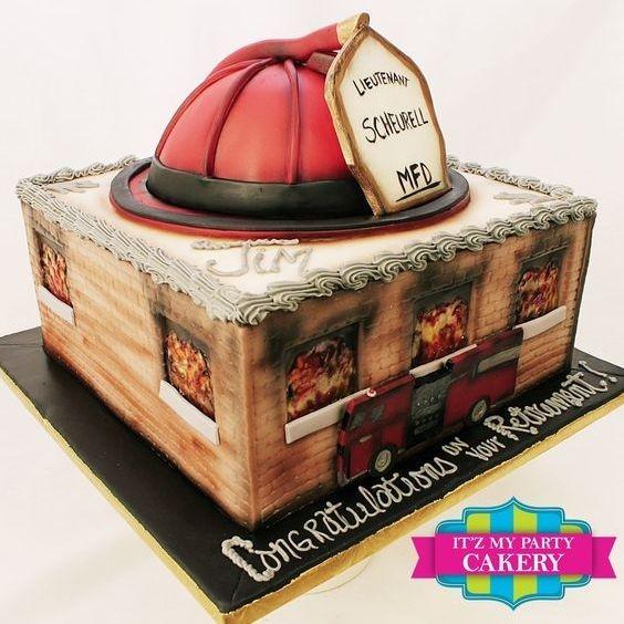 Custom Fireman Retirement  Cake Milwaukee