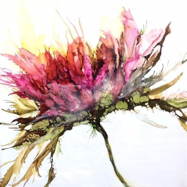 Abstract Encaustic Floral Painting, encaustic botanical, Encaustic and alcohol ink painting, inspirational art, yoga studio art, zen art, encaustic artist, alcohol ink artist