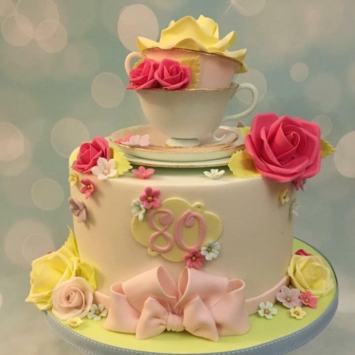 Pretty Rose Tea Cup Saucer Cake Birthday Celebration Bow Flowers