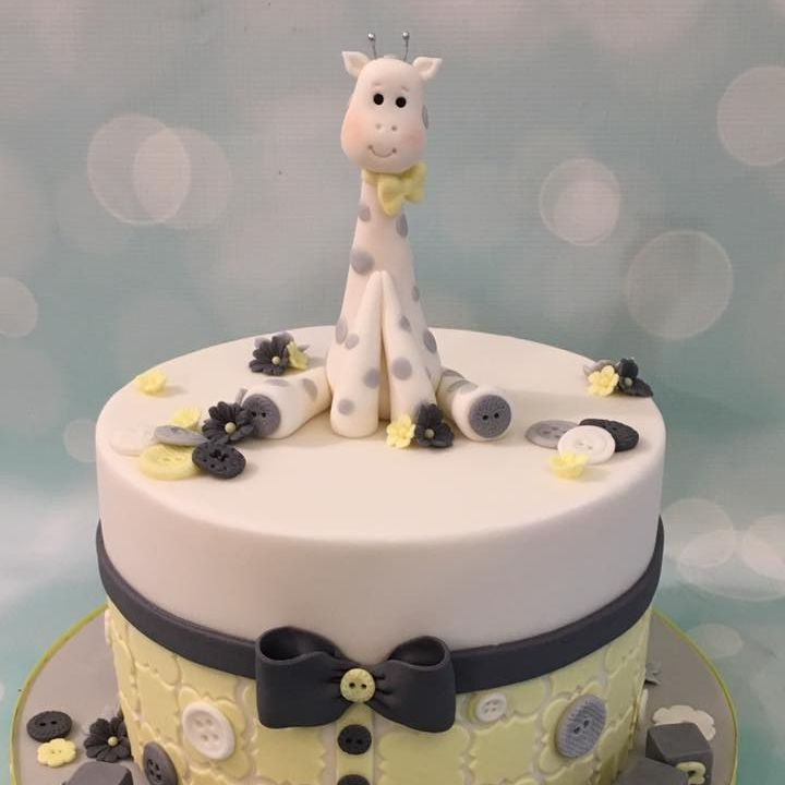 Baby Shower Birthday Christening Celebration Novetly Cake Giraffe Grey Yellow Buttons