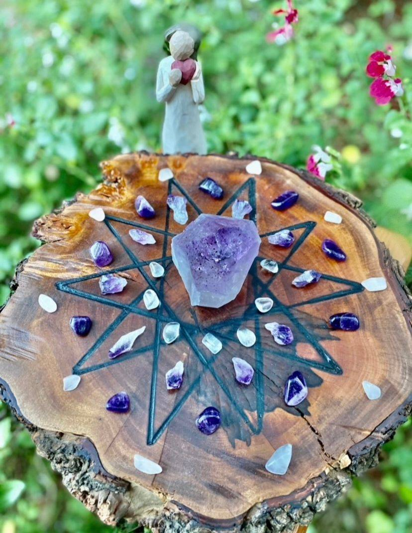 handmade authentic natural timber crystal healing grids wellness