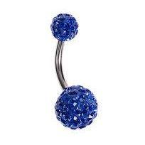 1.6mm x 10mm Blue Crystal Titanium Navel Bar