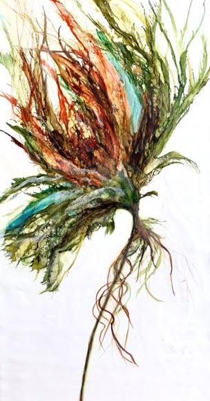 Abstract Encaustic Floral Painting, encaustic botanical, inspirational art, yoga studio art, zen art, encaustic artist