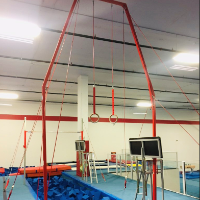 Rings Over Foam Pit at Inspire Sports Victoria in Saanich.  Recreational Gymnastics.  Competitive Gymnastics.