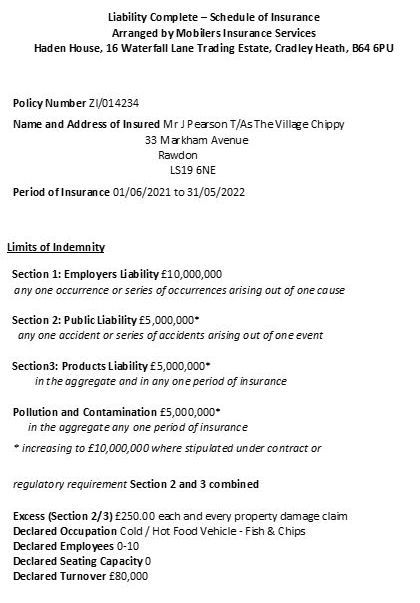 Our current certificate of liability insurance for mobile fish and chip van catering.