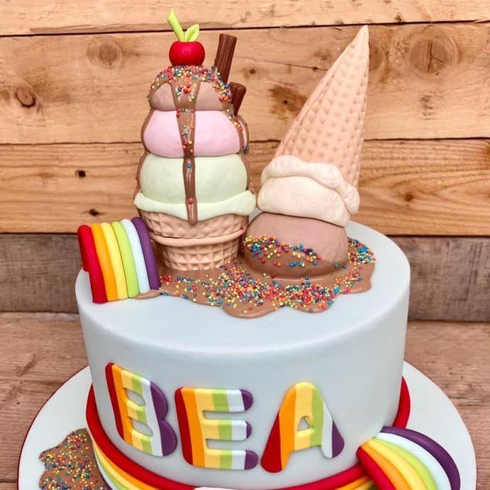 Ice Cream Drip Cake Birthday Melting Bright Fun