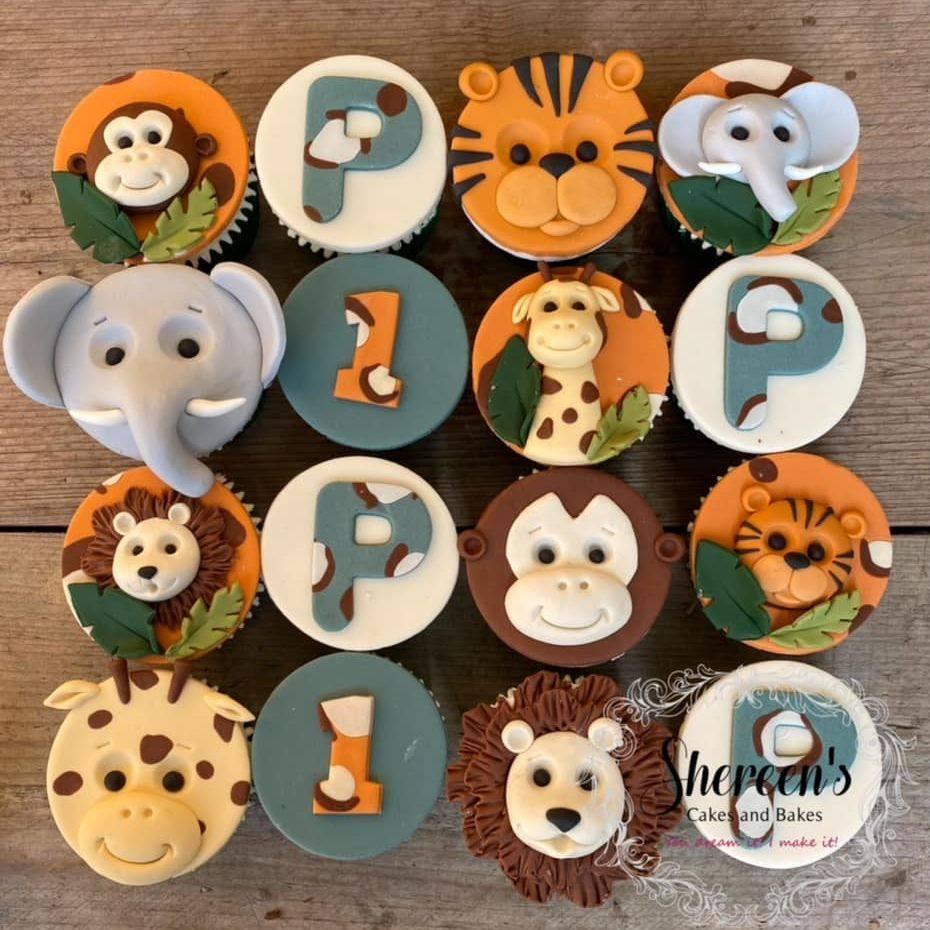 Jungle 1st Birthday Cupcakes Animal Print Monkey Giraffe Elephant Tiger Lion