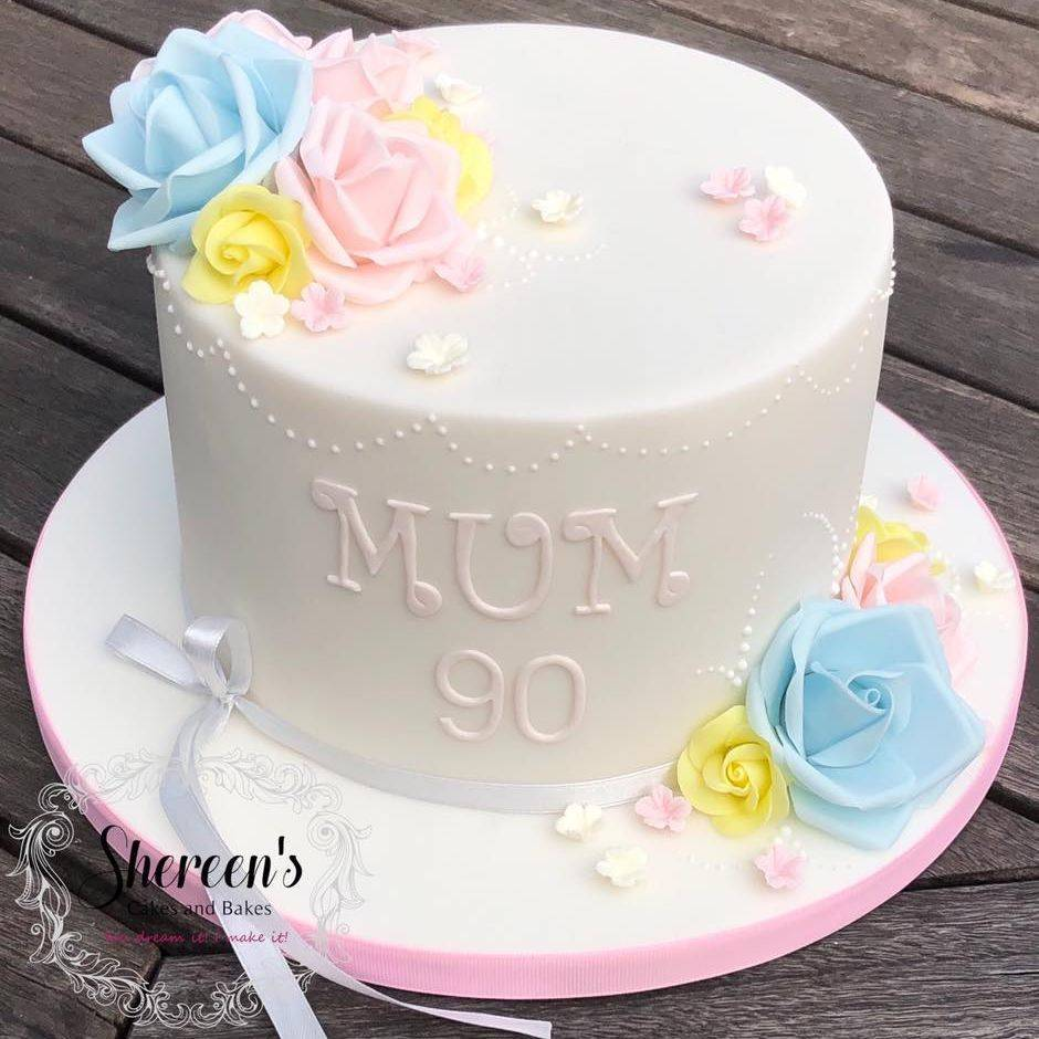 Pretty Cake pastel flowers roses 90th ninety blue pink yellow