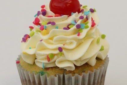 Birthday Surprise funfetti confetti cherry cupcakes