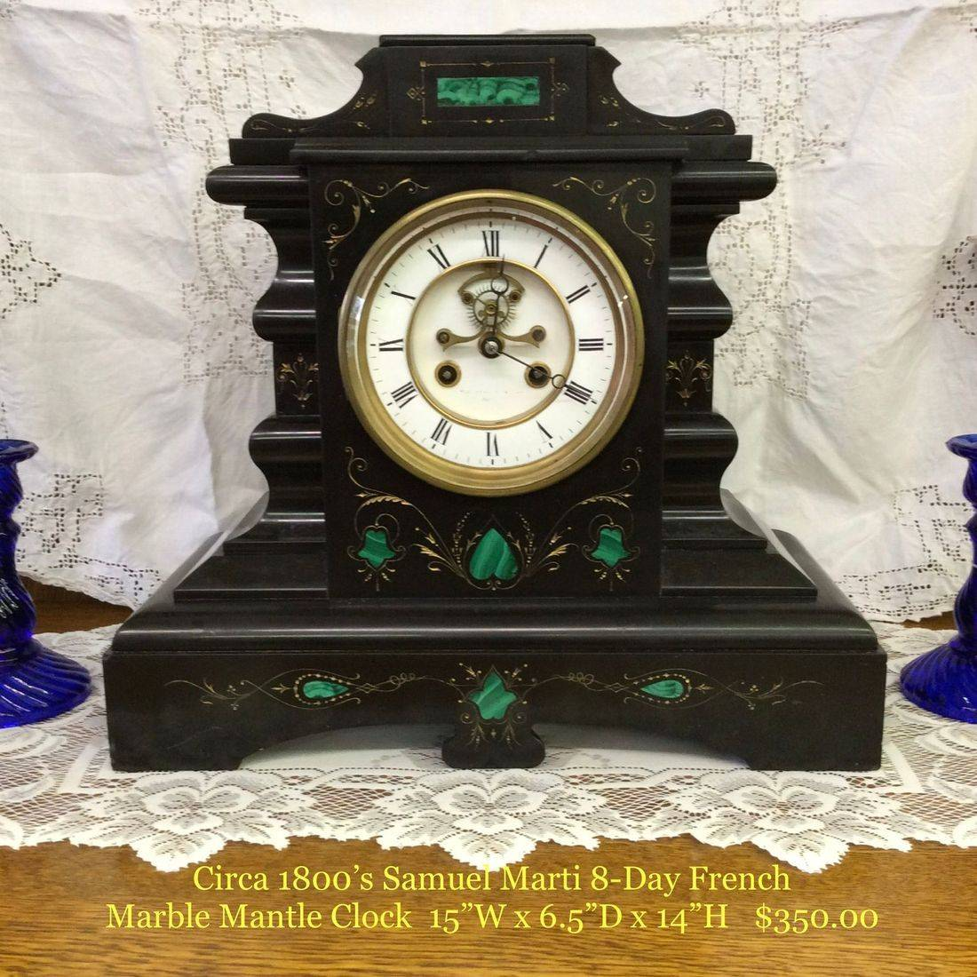 """Circa 1880's Samuel Marti 8-Day """" Working """" French Marble Mantle Clock  15""""W x 6-1/2""""D x 14""""H.  $350.00"""