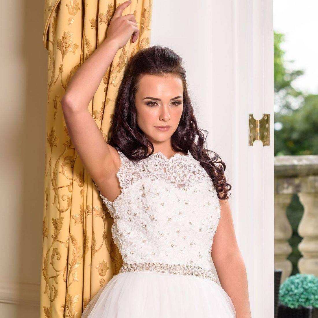ball gown wedding dresses, high neck wedding dress, sparkly wedding dress, tulle wedding dress, stunning wedding dress