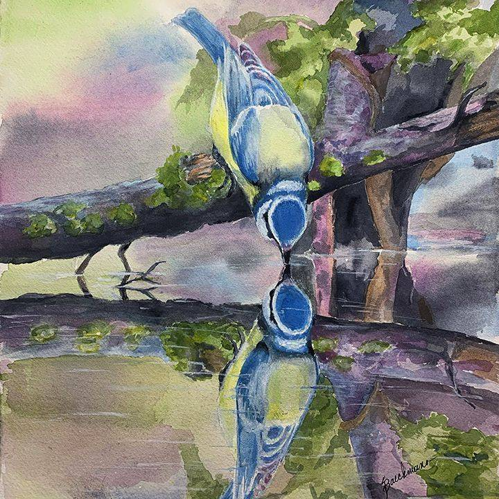 """SBaeckmann - Blue Reflections- 11"""" x 14""""  Watercolors  Matted In Sleeve - SOLD"""