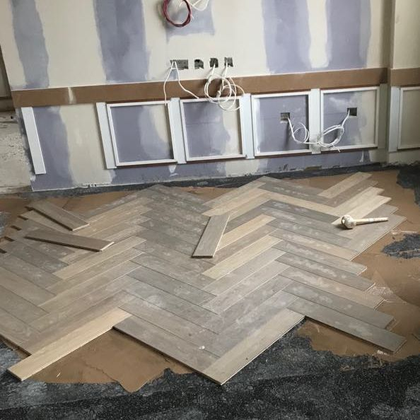 Herringbone timber floor