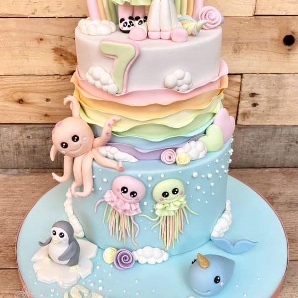 Pastel Kawaii Birthday Cake rainbow penguin whale octopus unicorn jellyfish