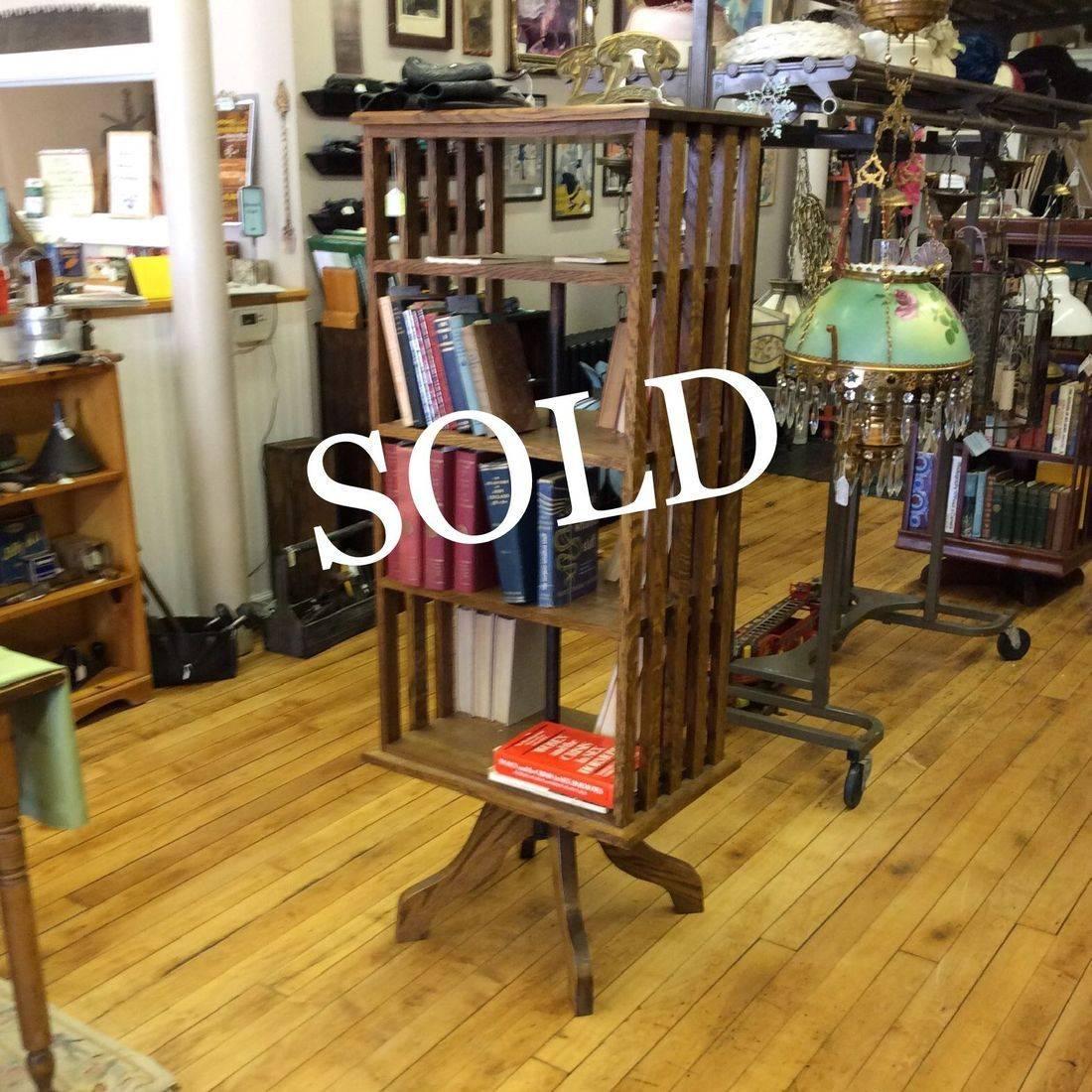 """Vintage Oak Mission Style, Revolving Bookcase  57-3/4""""H x 23""""W x 16""""D.  $550.00"""