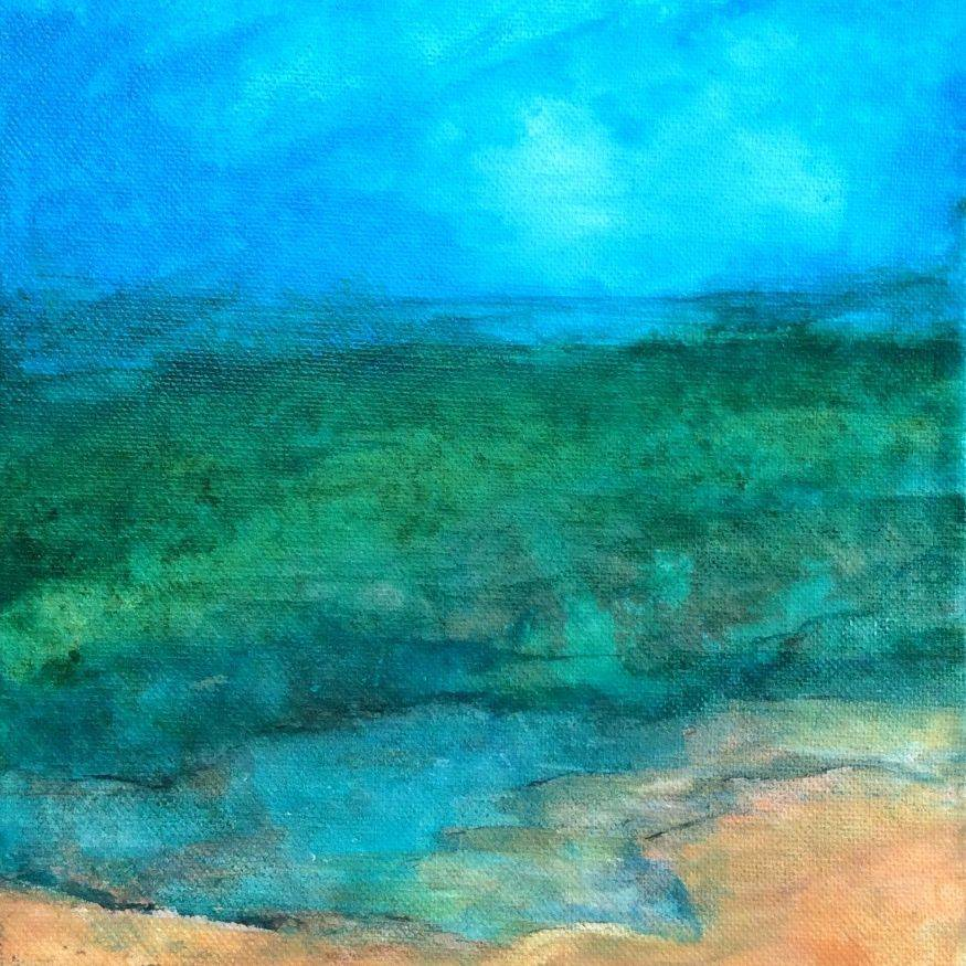 Acrylic Ink Seascape on Canvas, by Art And Soul By The Lake