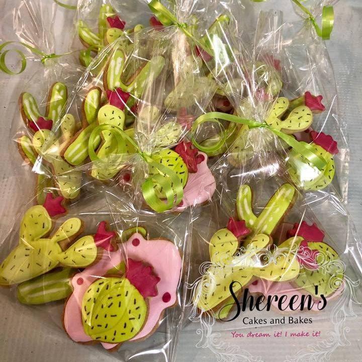 Iced Cookies Biscuits Cactus Cacti Birthday Bag Royal Icing