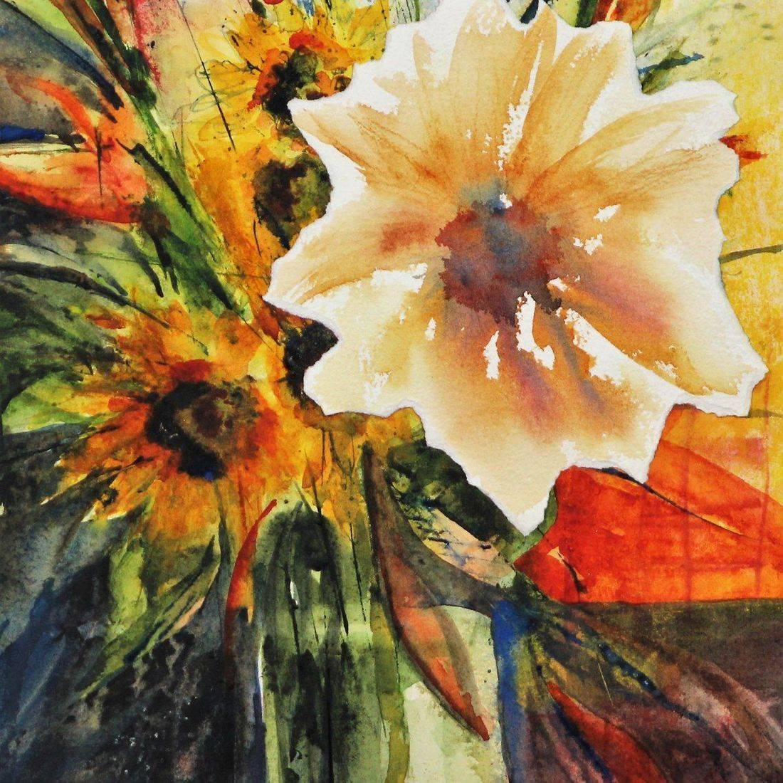 R Putbrese watercolor collage painting of sunflowers in a vase by Rebecca Krutsinger