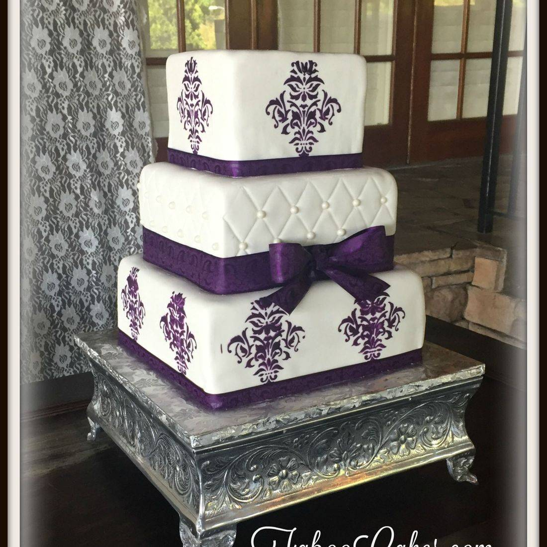 wedding cake square purple elegant lace