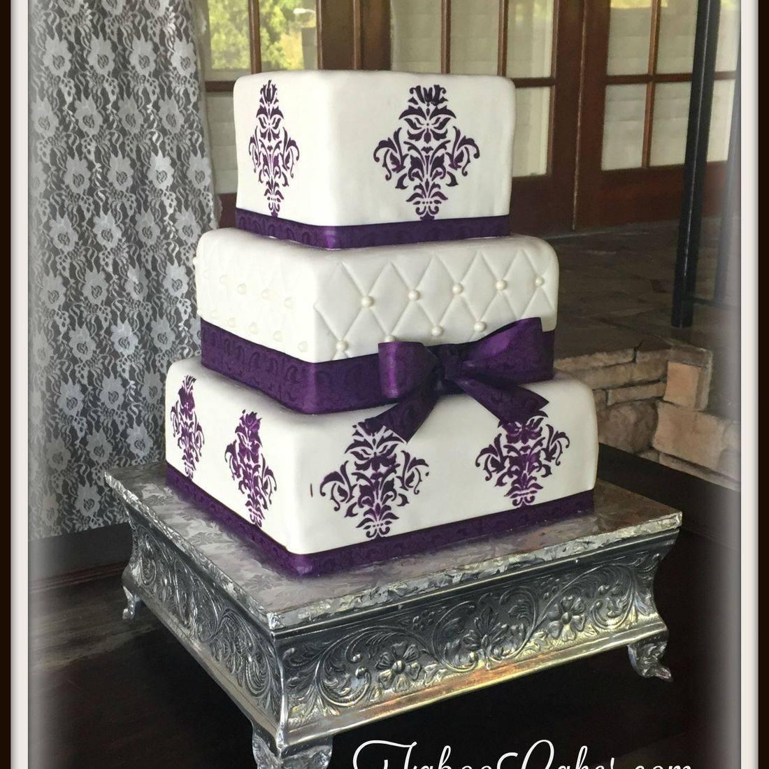 wedding cake square purple elegant lace