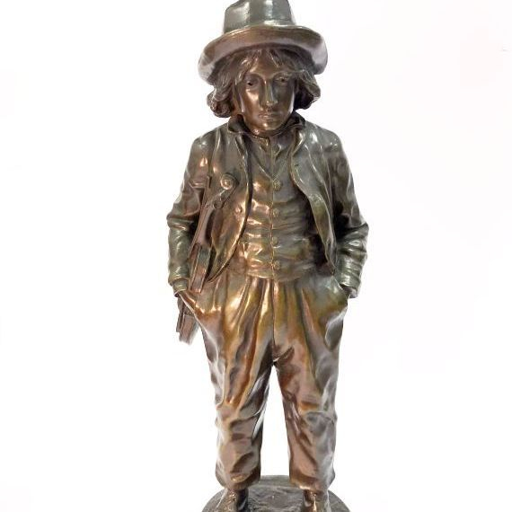 "Jean Garnier BRONZE of the ""young violinist"" with foundry seal"