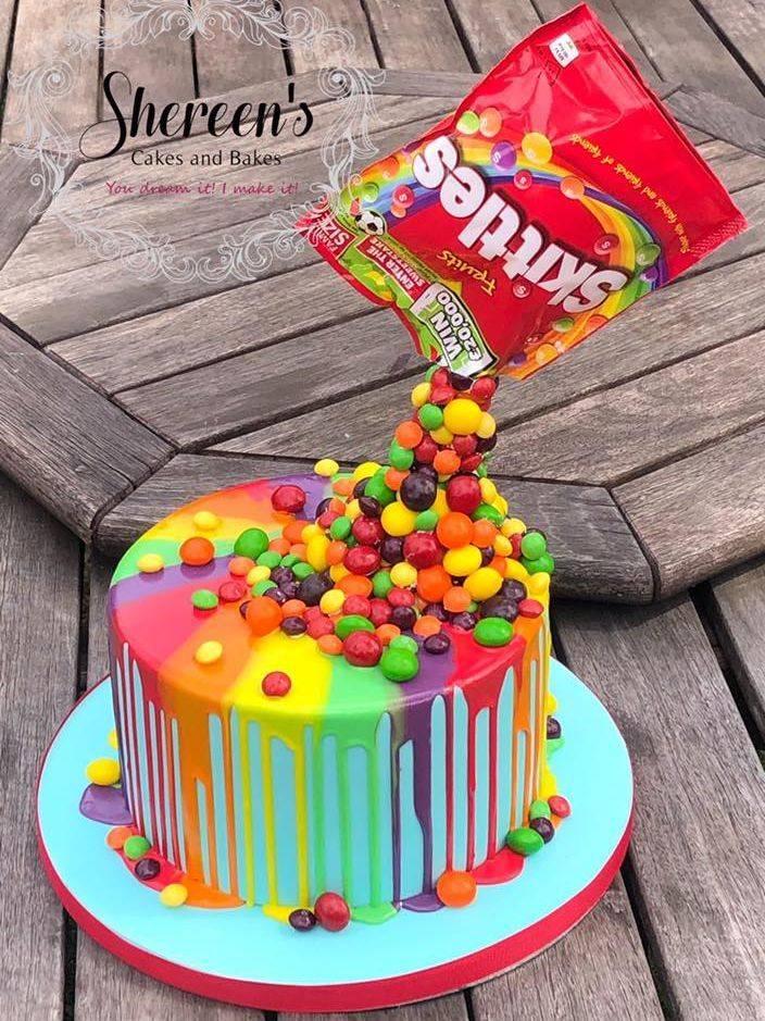 Drip cake skittles rainbow