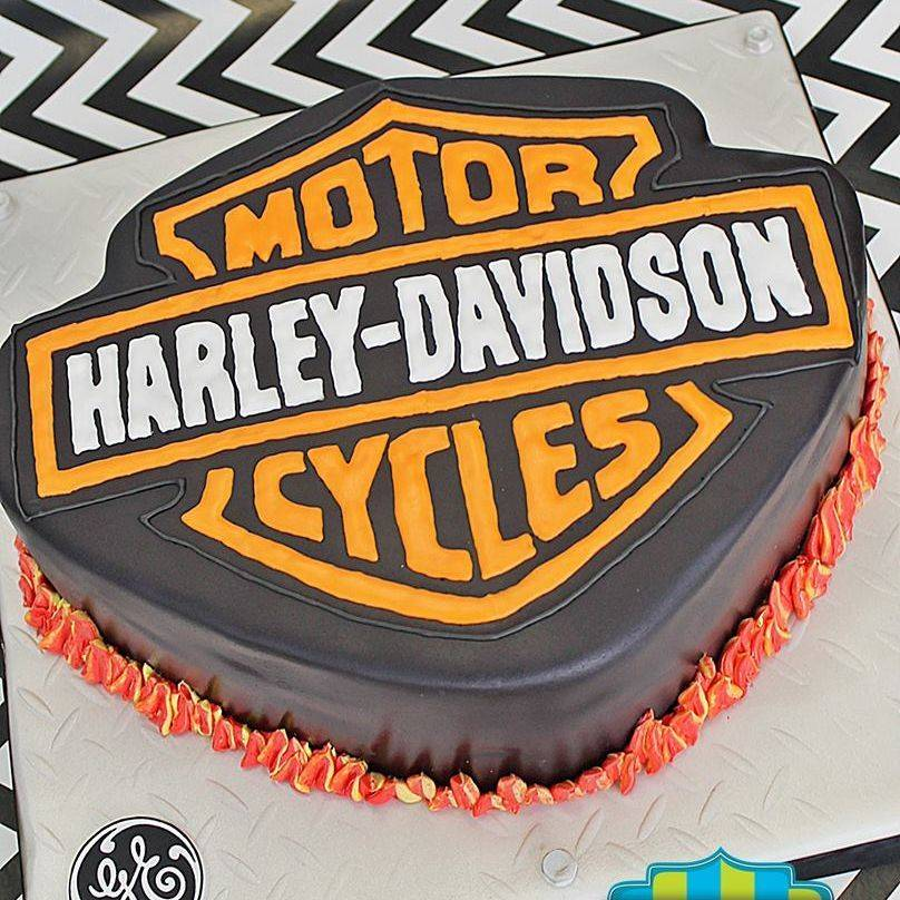 Harley Logo Carved Dimensional Cake Milwaukee