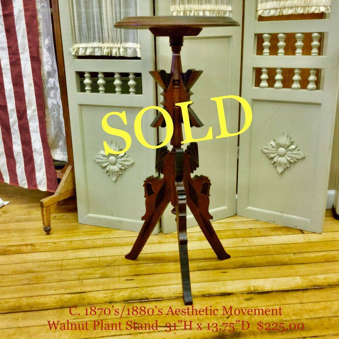 """1870's/1880's Aesthetic Movement Walnut Plant Stand  31""""Hgt.   $225.00"""