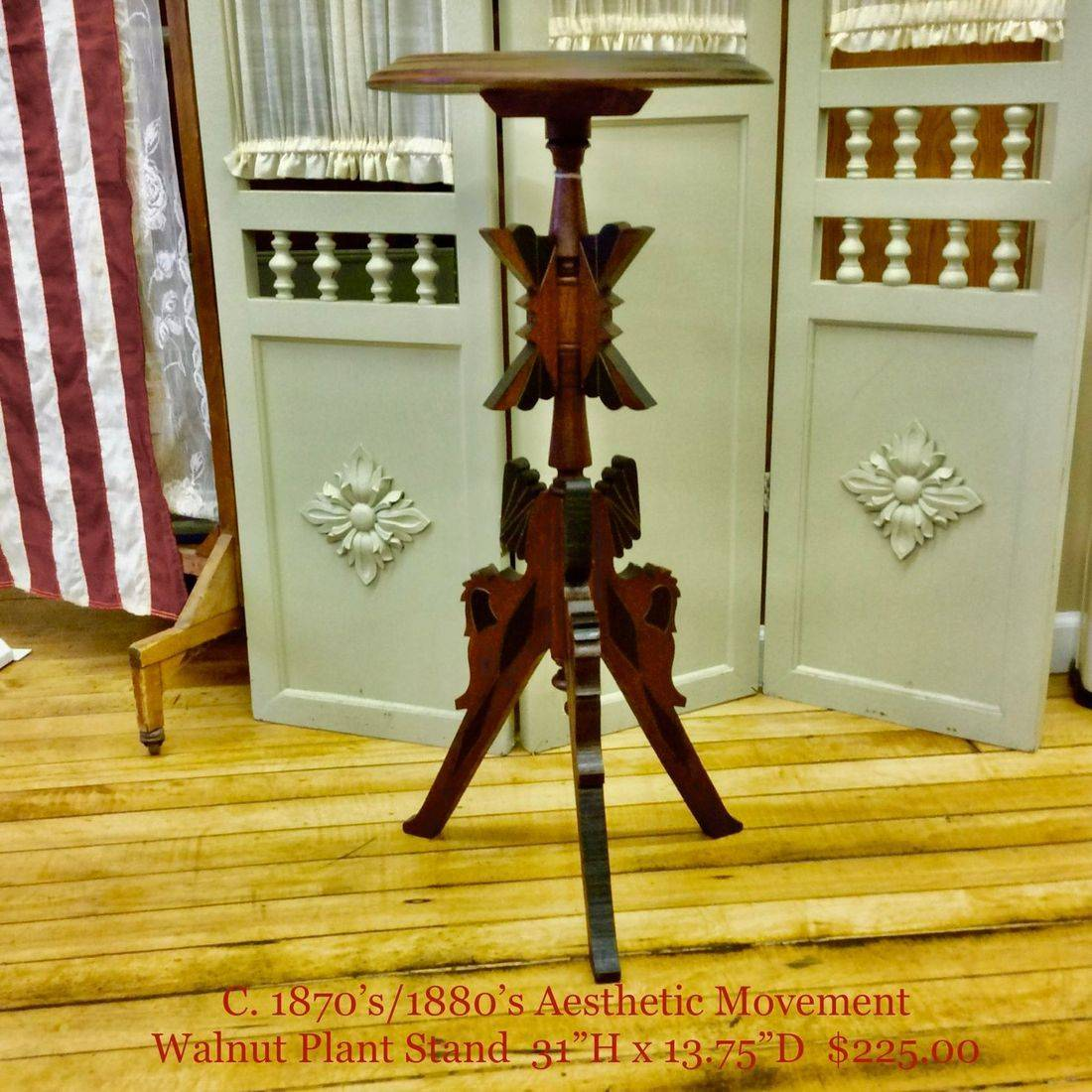 "1870's/1880's Aesthetic Movement Walnut Plant Stand  31""Hgt.   $225.00"