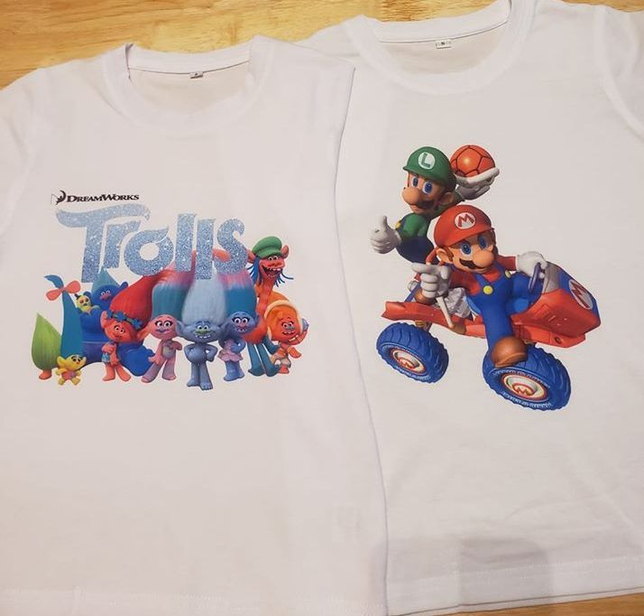 Sublimation Cricut Shirts Trolls and Mario
