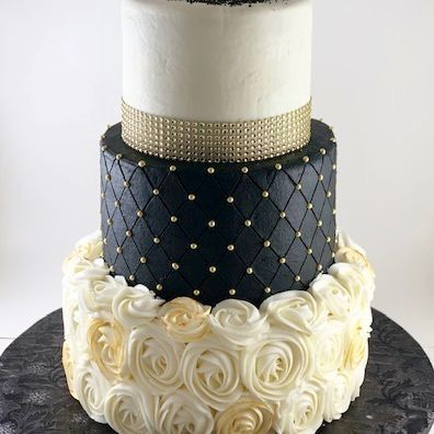 Black, Gold and White birthday cake
