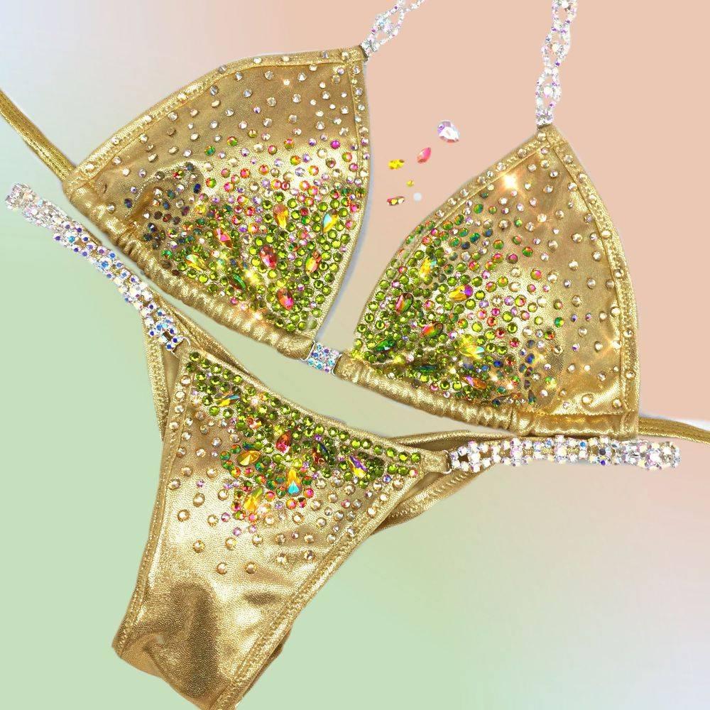gold competition bikini