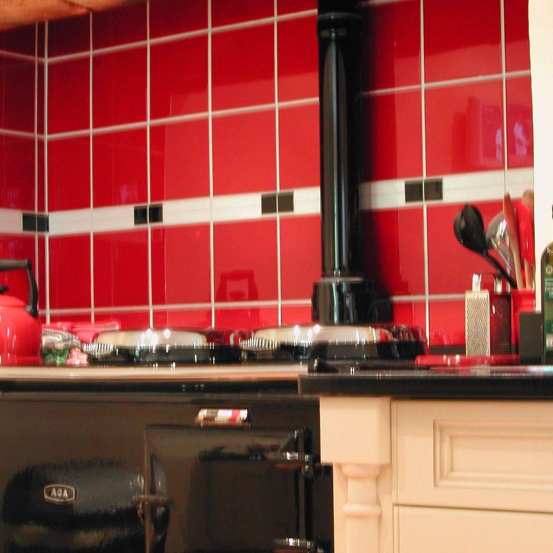 Range Cooker Red Glass Tiles