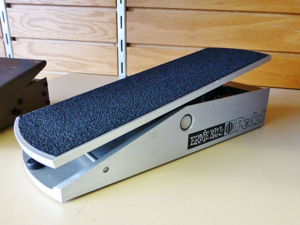 close up picture of a gray and black Ernie Ball Volume Pedal