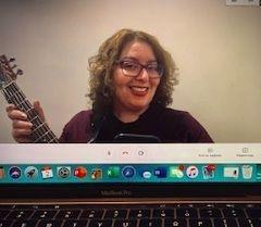Rebecca Frieman leading music therapy telehealth session