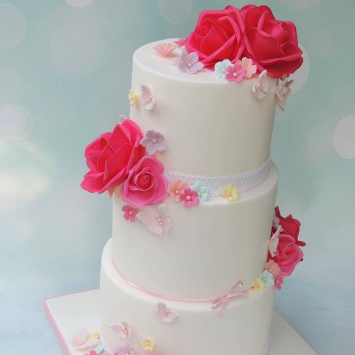 Spring Wedding Bright Flower Cake Pretty Pink Butterflies