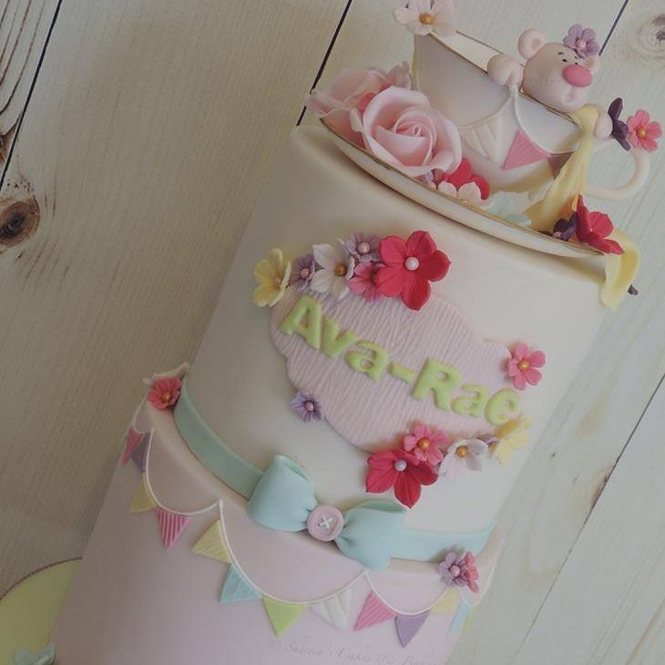 Baby Shower Christening Celebration Birthday Cake Novelty Teddy Tea Cup Roses Flowers Bunting